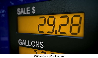 Gas pump display starting at 28 - Zoom in on gas pump...