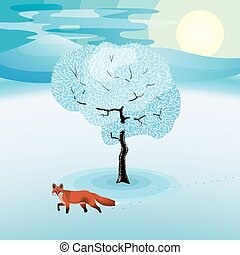 Winter landscape with frozen tree and red fox hanging around
