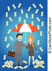 young smiley couple with umbrella
