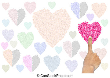 Man pointing a pink heart