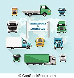 Truck Icons Flat - Trucks transport and logistics delivery...