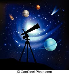 Space Background With Telescope - Space background with...