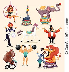Circus Icons Set - Circus performance decorative icons set...
