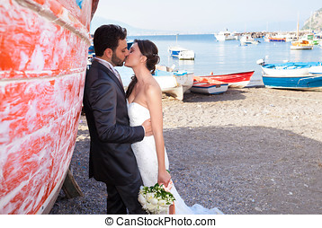 Married couple at the beach in Sorrento coast. - Married...