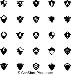 Design shield icons on white background