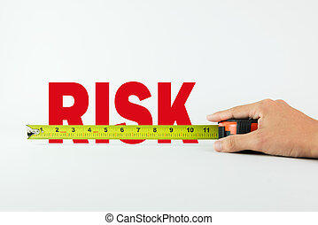 Measuring risk - Measure the word Risk with measuring tape...