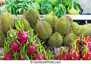Durian and pitahaya in the street market