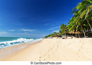 Beautiful beach with blue sky - Mui Ne White Sandy Beach,...