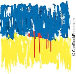 Ukraine crisis - Ukraine drowning in the blood - flag...