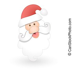 Funny Santa Face - Cartoon Funny Old Santa Claus Head...