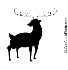 Reindeer Silhouette - Cartoon Funny Christmas Reindeer...