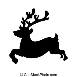 Running Reindeer Silhouette - Cartoon Funny Christmas...