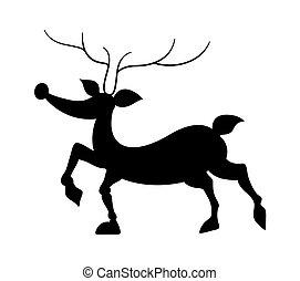 Funny Reindeer Silhouette - Cartoon Funny Christmas Reindeer...