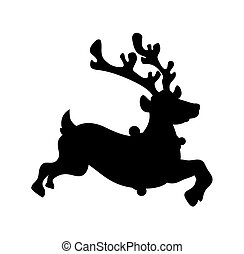 Reindeer Running Shape - Cartoon Running Xmas Reindeer...