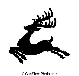 Reindeer Running Silhouette - Retro Christmas Reindeer...
