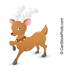Cute Reindeer - Cartoon Cute Small Reindeer Running Pose...