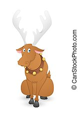 Funny Dasher Christmas Reindeer - Cartoon Scared Xmas Dasher...