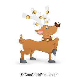 Prancer Christmas Reindeer - Cartoon Happy Reindeer Animal...