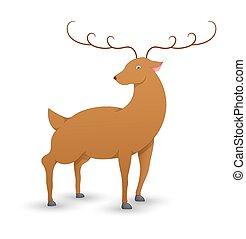 Cupid Christmas Reindeer - Cartoon Xmas Wild Reindeer Animal...