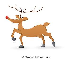 Funny Donder Reindeer - Cartoon Funny Xmas Reindeer Animal...