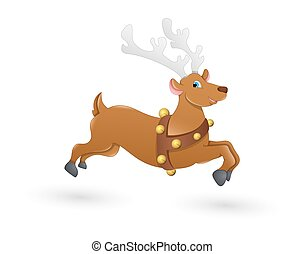 Blitzen Christmas Reindeer Running - Cartoon Cute Wild...