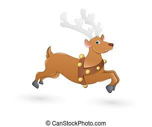 Blitzen Christmas Reindeer Running - Cartoon Cute Wild...