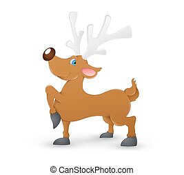 Red-Nosed Cute Christmas Reindeer - Cartoon Funny Cute...