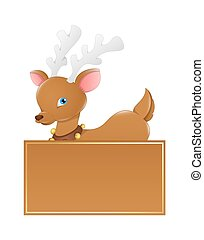 Donner Reindeer Christmas Banner - Cartoon Cute Small...
