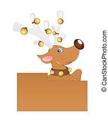 Cartoon Dasher Reindeer Character Blank Vector Banner
