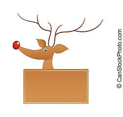Cute Funny Reindeer Vector Banner - Cartoon Vixen Reindeer...