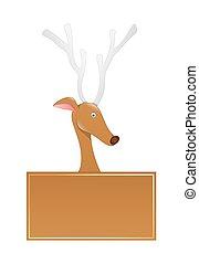 Funny Reindeer Blank Banner Vector - Cartoon Comet Reindeer...
