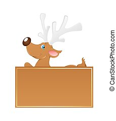 Cute Reindeer Xmas Banner Vector - Cartoon Cupid Reindeer...