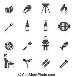 Bbq Grill Icon Black - Bbq grill equipment icon black set...