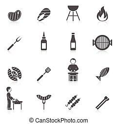 Bbq Grill Icon Black - Bbq grill equipment icon black set...