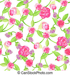 Seamless Flower Pattern Summer painting garden for design