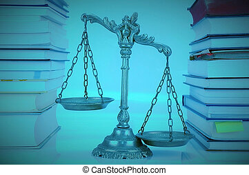 Law and Justice - Decorative Scales of Justice between books...