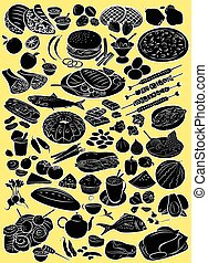Foods - Vector illustration of food collection in silhouette...