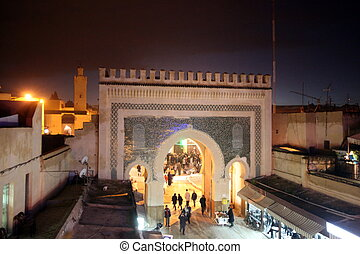 AFRICA MOROCCO FES - The blue Gate at the Bab Bou Jeloud in...