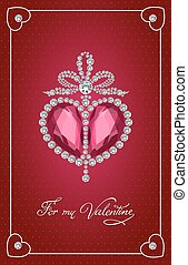 Valentines day vintage card with brilliant heart.