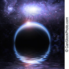 águas, Reflexão, e, planetas,
