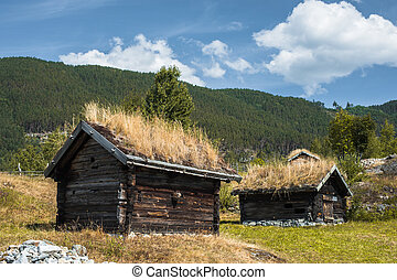 Ancient fisherman's wooden huts in ethnic park, Norway.