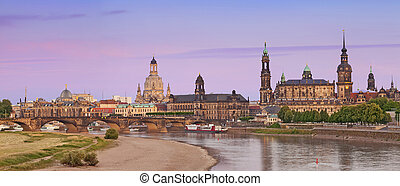 Dresden - Panoramic image of Dresden during summer sunset