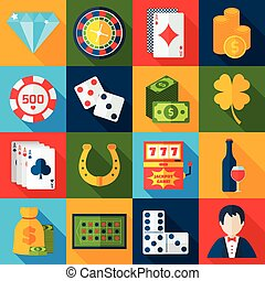 Casino Flat Icons - Casino gambling flat icons set with...
