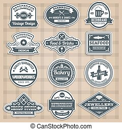 Retro Emblems Set - Retro emblems set with food drinks...