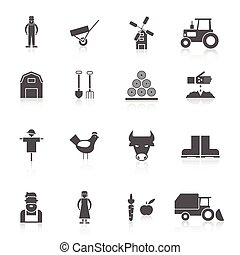 Farm Icon Set - Farm black icon set with crop poultry...