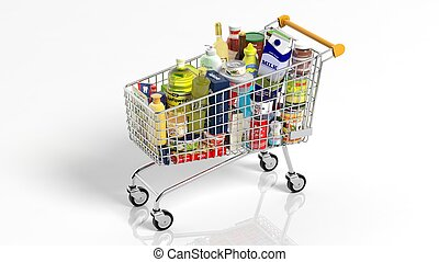 Full with products supermarket shopping cart isolated on white background