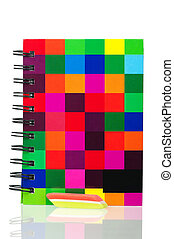 School exercise-book with tricolor eraser isolated on white...