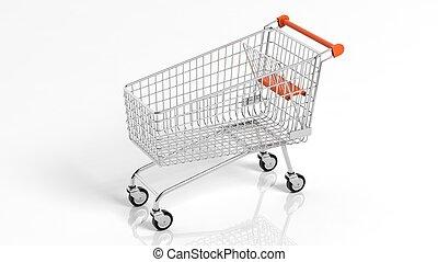 Empty supermarket shopping cart isolated on white background