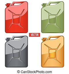 Set of Fuel container jerrycan. Gasoline canister. Vector...