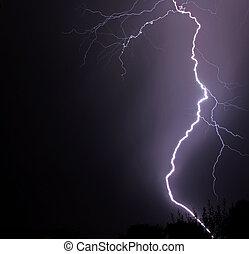 Lightening storm - Lightening strike in thunderstorm at...
